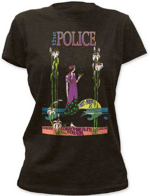 Police Vintage Concert T-shirt - The Police at the Commonwealth Stadium in Edmonton, Alberta, Canada Saturday June 2 | Women's Black Shirt