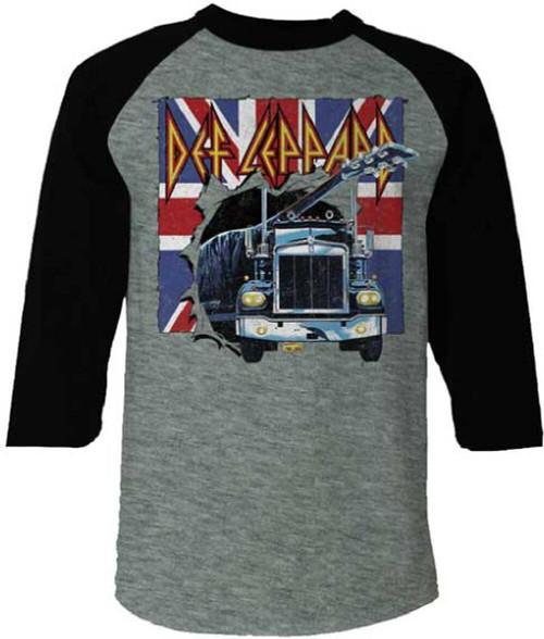Def Leppard Men's Baseball Jersey T-shirt - Def Leppard Logo with On Through the Night Album Cover Semi Truck. Gray and Black Raglan Shirt