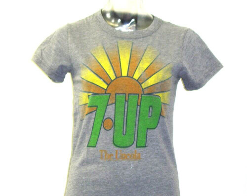 7Up Women's Vintage T-shirt - 7Up The Uncola Classic Advertising Slogan | Gray Shirt by Junk Food Clothing