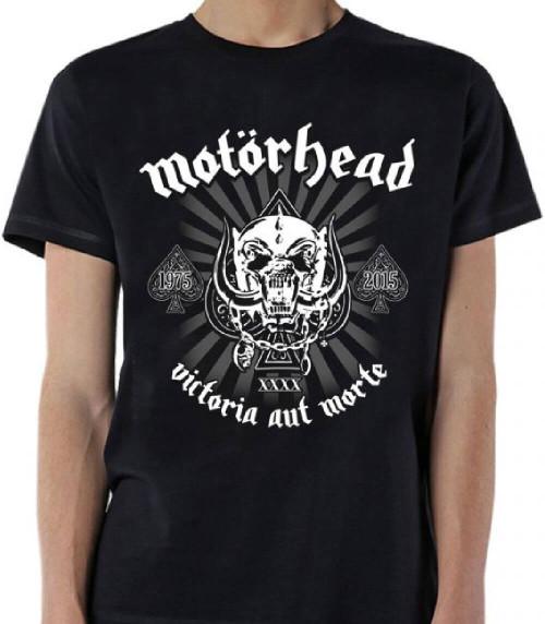 Motorhead 40th Anniversary T-shirt - Motorhead Victoria Aut Morte 1975-2015 XXXX War Pig Snaggletooth Logo. Men's Black Shirt