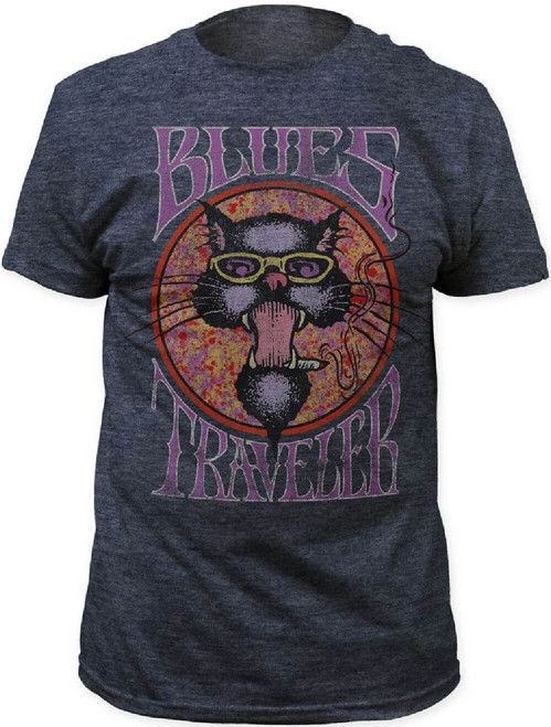 Blues Traveler Men's Vintage T-shirt - Blues Traveler Cat Logo | Gray Shirt