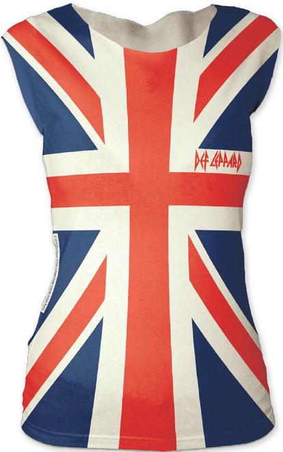 Def Leppard Women's T-shirt - Def Leppard Union Jack British Flag Logo | Sleeveless Shirt