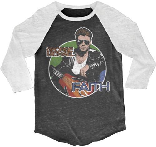 George Michael Vintage Baseball Jersey - George Michael Faith Music Video Drawing | Black and White Raglan