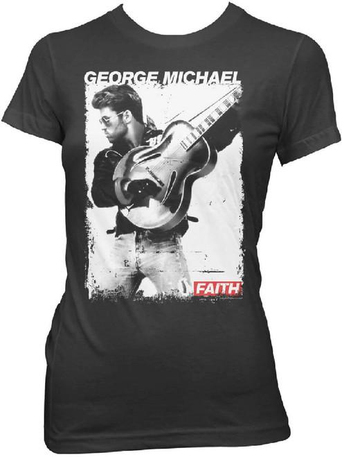 George Michael Women's T-shirt - George Michael Faith Music Video Photograph. Black Shirt