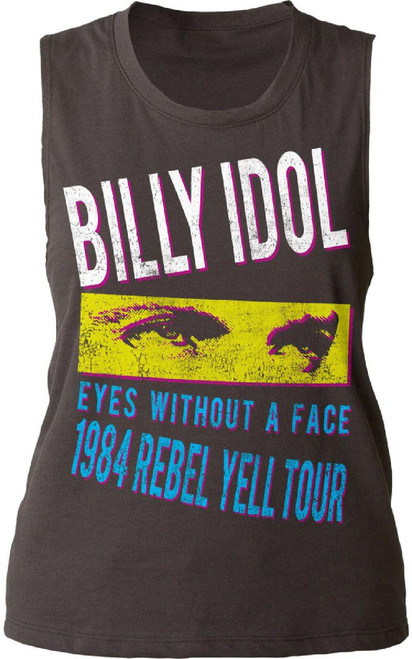 Billy Idol Women's Vintage Concert T-shirt - Rebel Yell Tour 1984 Eyes Without a Face Song Title | Black Sleeveless Shirt