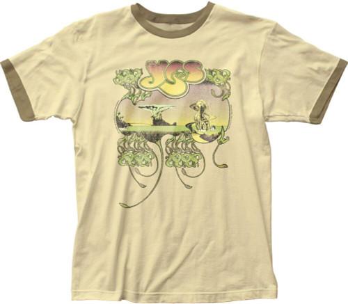 Yes T-shirt - Yessongs Album Cover Artwork | Men's Beige Vintage Ringer Shirt