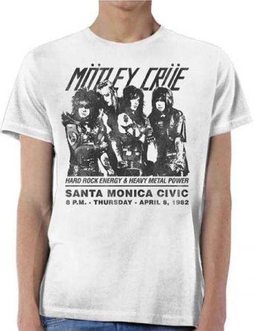 Motley Crue Santa Monica Civic Auditorium April 8, 1982 Concert Promotional Poster Artwork Men's White Vintage T-shirt
