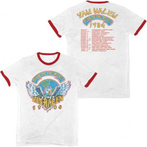 Van Halen Vintage Concert T-shirt - Van Halen Tour of the World 1984 with Dates and Cities | Men's White and Red Ringer Shirt