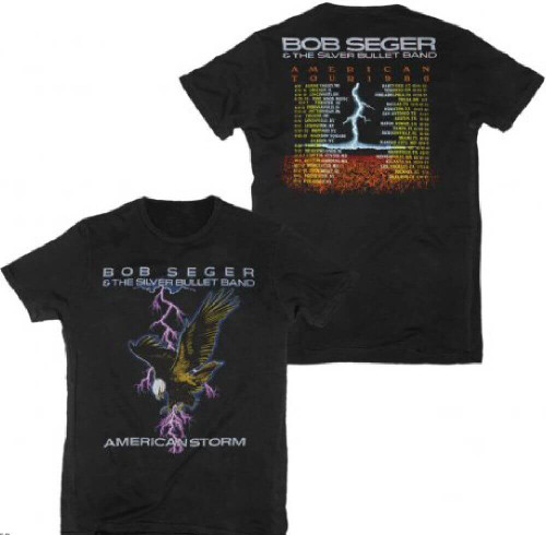 Bob Seger Concert T-shirt - Bob Seger and The Silver Bullet Band American Storm Tour | Men's Black Fitted Shirt