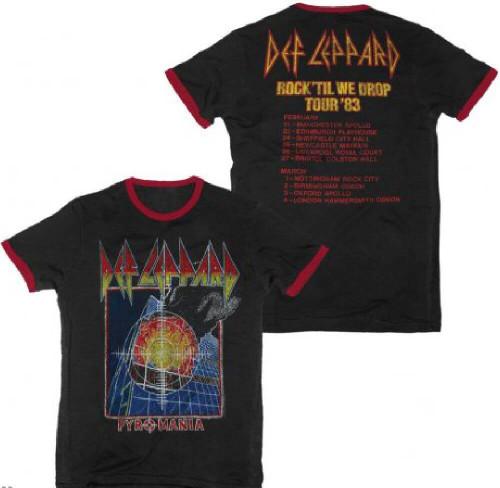 Def Leppard Vintage Concert T-shirt - Def Leppard Pyromania Rock Til We Drop Tour 1983   Men's Black and Red Ringer Shirt