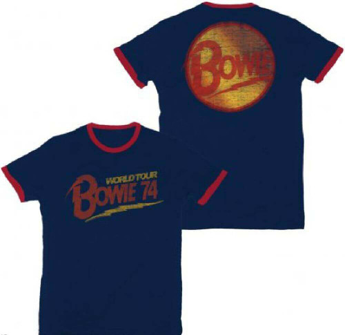 David Bowie World Tour 1974 Men's Blue and Red Ringer Vintage Concert T-shirt