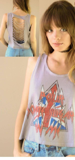 Def Leppard Vintage T-shirt - Pour Some Sugar On Me Song Title | Women's Gray Slashed Back Tank Top Shirt by Recycled Karma