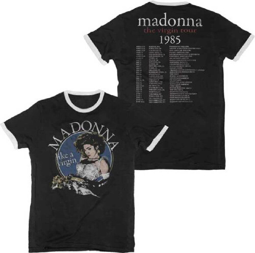 Madonna Vintage Concert Tour T-shirt - Madonna The Virgin Tour 1985 | Men's Black Ringer Shirt