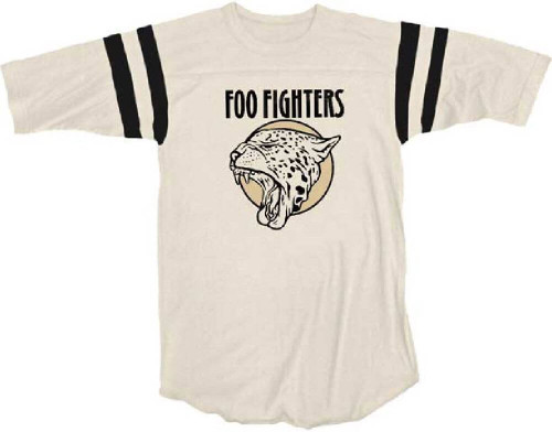 Foo Fighters Roaring Leopard Cat Logo Women's Beige Football Jersey T-shirt