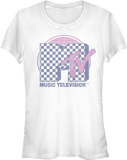 MTV Women's Vintage T-shirt - Classic MTV Music Television Checkerboard  Logo | White Shirt
