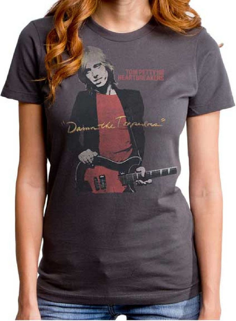 Tom Petty and the Heartbreakers Vintage T-Shirt – Tom Petty and the Heartbreakers Damn the Torpedoes Album Cover Artwork | Women's Gray Shirt