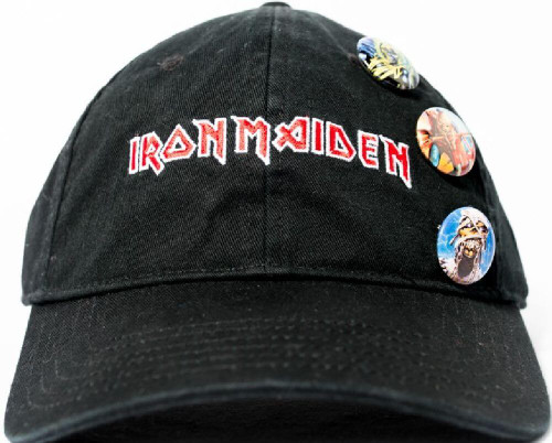 Iron Maiden Baseball Hat - Iron Maiden Logo with Eddie the Head Buttons. Black Tri-Glide Closure Cap