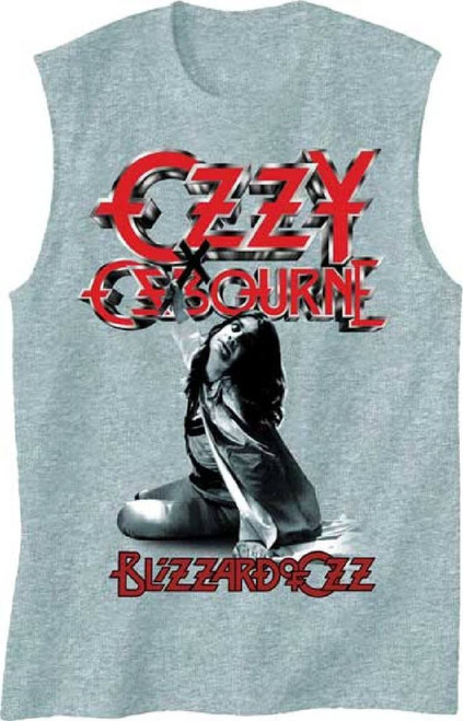 Ozzy Osbourne Muscle T-shirt - Ozzy Osbourne Blizzard of Ozz Album Cover Artwork | Men's Gray Sleeveless Shirt