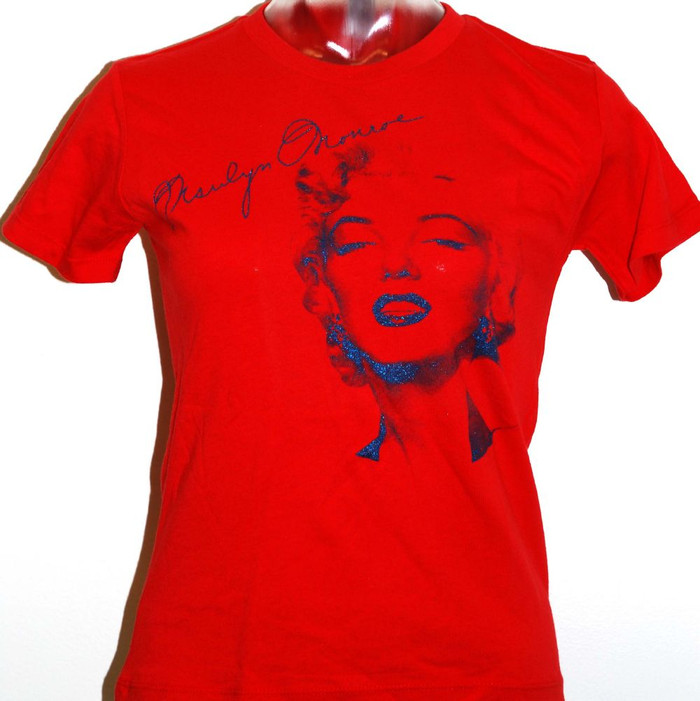 Marilyn Monroe Women's Red T-shirt with Glitter Signature