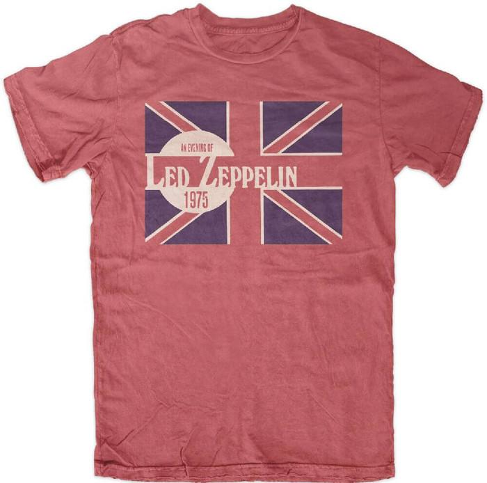 Led Zeppelin An Evening of Led Zeppelin 1975 Men's Red Vintage Concert T-shirt