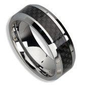 Men's Tungsten Ring (Black Carbon Fiber Inlay 8MM band). Also great as a men's wedding ring band / promise ring.