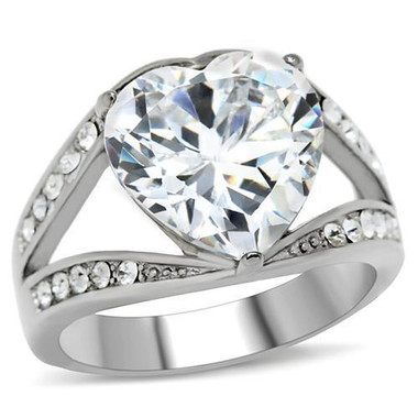 Womens Big Bursting Heart - Cubic Zirconia Ring - Stainless Steel Engagement Ring / Promise Wedding Ring for Women