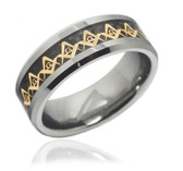 Tungsten Carbide Freemason Ring / Masonic Rings for sale - Gold and Black Inlay Tungsten Ring for Mason. Freemason Jewelry.