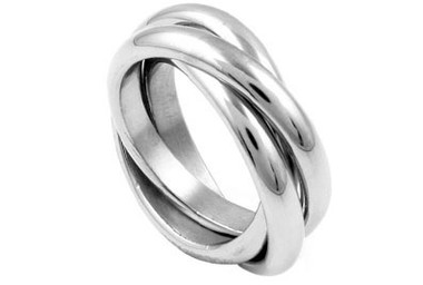 Womens Triple Rolling Band Ring - Russian 316L Stainless Steel Ring - 3 rolling Band