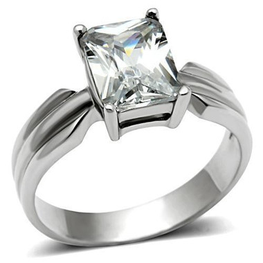 Womens Sallys Sleek Square Stone CZ Ring - Stainless Steel Engagement Ring / Wedding Band for Women