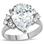 Womens Big Rock (7 Stones) CZ Ring - Steel Engagement Ring / Promise / Wedding Ring for Women