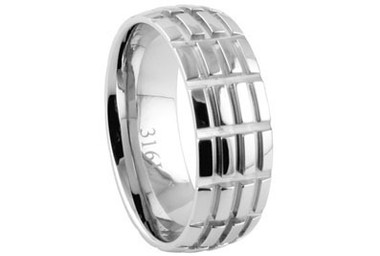 Stainless Steel - Mens Hatch Mark Wedding Ring (8mm) - 316L Steel Ring. Also great as a men's wedding ring band.