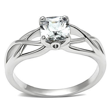 Womens Elite Intertwined - Rhodium Solitaire Stone Commitment ring - Marriage / Engagement Band (Silver Color)