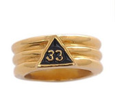 Freemason Ring / Scottish Rite Masonic Ring - Gold Plated Scottish Rite 33rd Degree Grooved Band for Masons