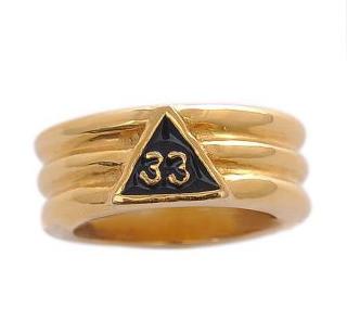 Freemason Ring / Scottish Rite Masonic Ring - Gold Plated Scottish Rite 33rd Degree Grooved Band for Masons