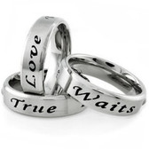 True Love Waits - Promise Ring (6mm) 316L Stainless Steel with CZ stone. Women's commitment rings.