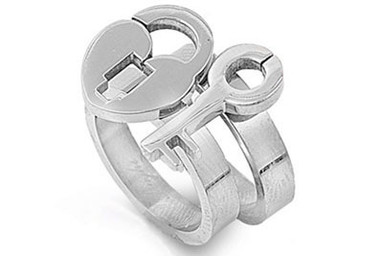 Womens - Key to My Heart - Lock and Key Ring - Love & Commitment (2-in-1) Steel rings