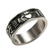 Mens Claddagh Rings Irish Celtic Ring (Heart & Crown) - Top Quality Steel Commitment Ring
