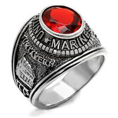 Marines Ring - USMC Military Rings (Stainless Steel with Red Stone). United States Marines Corps. Soldiers, Veterans, etc.