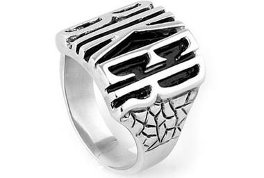 Steel - Biker Ring - Stainless Steel Motorcycle Band w/ Biker text