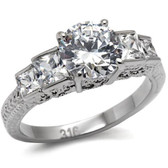 Womens Emmas Classic 5 Stone Ring - Stainless Steel Engagement Ring / Wedding Band for Women