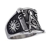 Pillar Mason Ring / Masonic Ring Pillar Design - Enamel & Steel Band for Freemasons. Masonic rings for sale