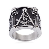 Cheap Mason Ring / Masonic Ring Pillar Design - Enamel & Steel Band for Freemasons. Masonic rings for sale