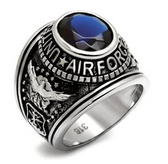 Air Force Rings - USAF Military Ring (Stainless Steel with Blue Stone). United States veterans, soldiers etc.