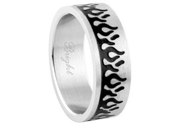 Stainless Steel - Black Flames Ring - Top Quality 316L Steel Biker Band