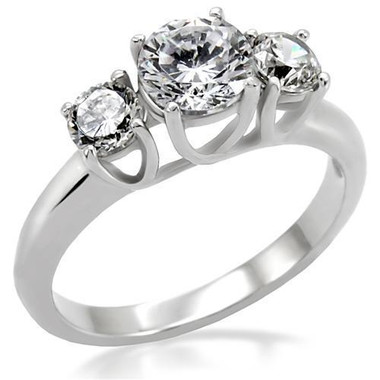 Womens Past Present & Future CZ Ring - Steel Love & Commitment ring - Marriage Wedding Engagements