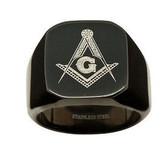 Black Freemason Ring / Masonic Rings for sale - 316L Stainless Steel Masonic Jewelry Band Free Mason Ring.