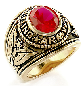 Image of Army Ring - U.S. Armed Forces Military Ring (Gold with Red Stone). United States Soldiers, Veterans, etc.