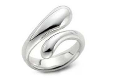 Womens Tear Drop Ring - Adjustable - One Size Fits All (.925 Sterling Silver Electroplated Ring)