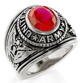 Army Ring - U.S. Armed Forces Military Ring (Silver Color with Red Stone) United States Soldiers and Veterans
