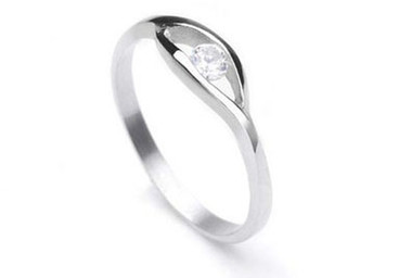 Womens Stainless steel Promise ring w/ Single CZ Stone - 3mm AA cubic zirconia